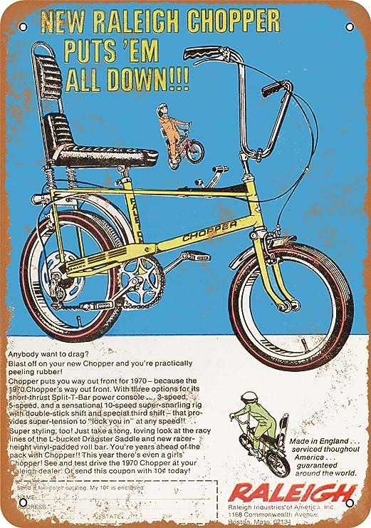 Señalamiento de metal de aspecto vintage 1970 de bicicleta Raleigh ...