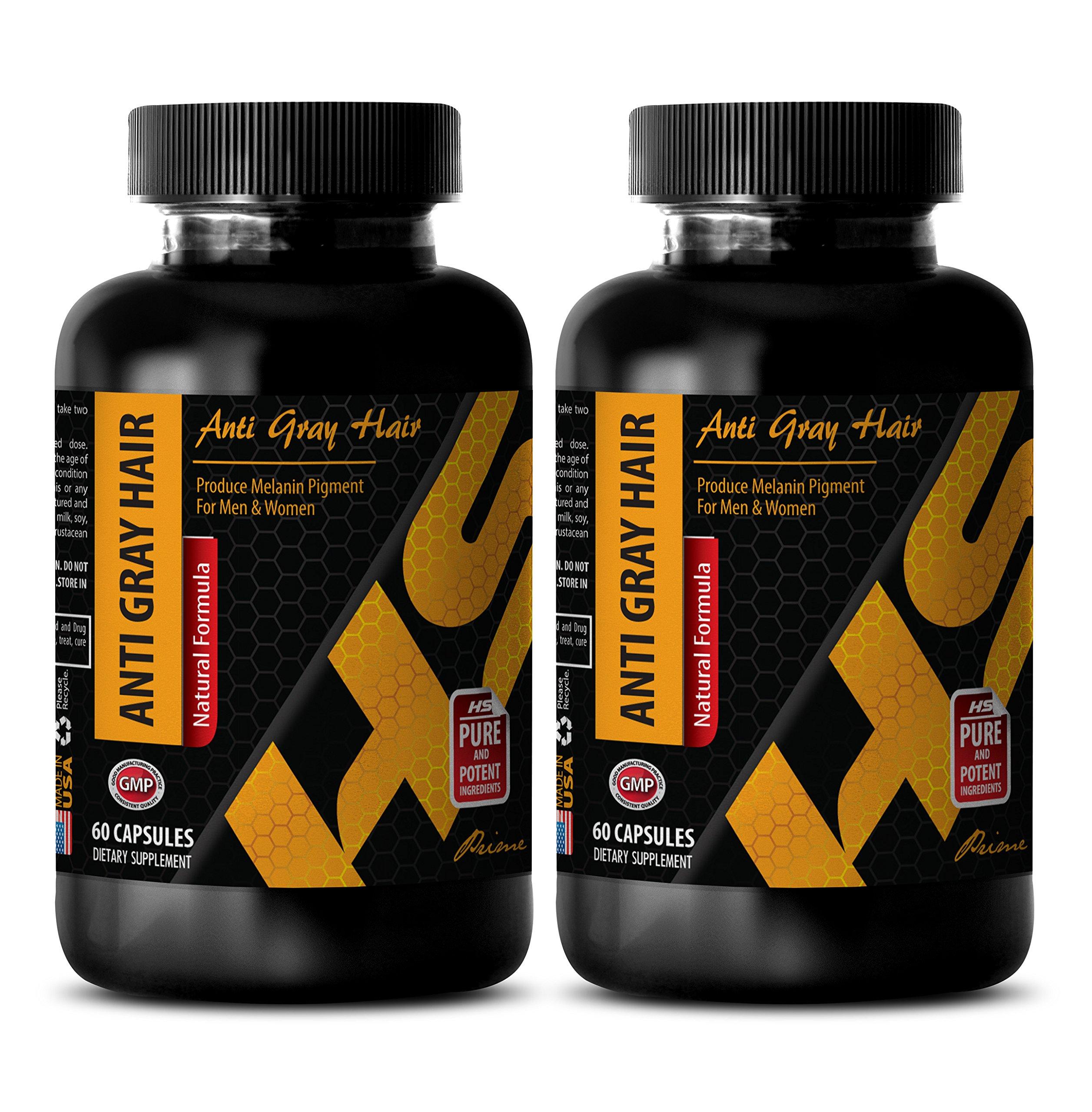 antiaging - ANTI GRAY HAIR - NATURAL FORMULA - nettle herb bulk - 2 Bottles (120 Capsules)