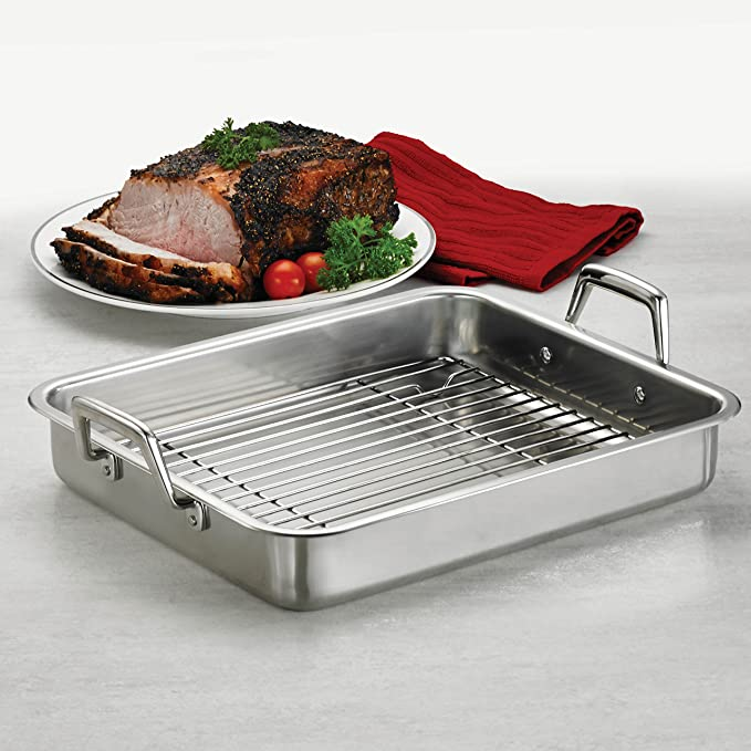 Amazon.com: Tramontina 80203/003DS Gourmet Stainless Steel Rectangular Roasting Pan with Basting Grill, 13.5-Inch, Made in Brazil: Kitchen & Dining