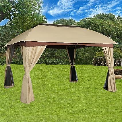 Cloud Mountain Garden Gazebo Polyester Fabric Patio Backyard Double Roof  Vented Gazebo With Mosquito Netting,