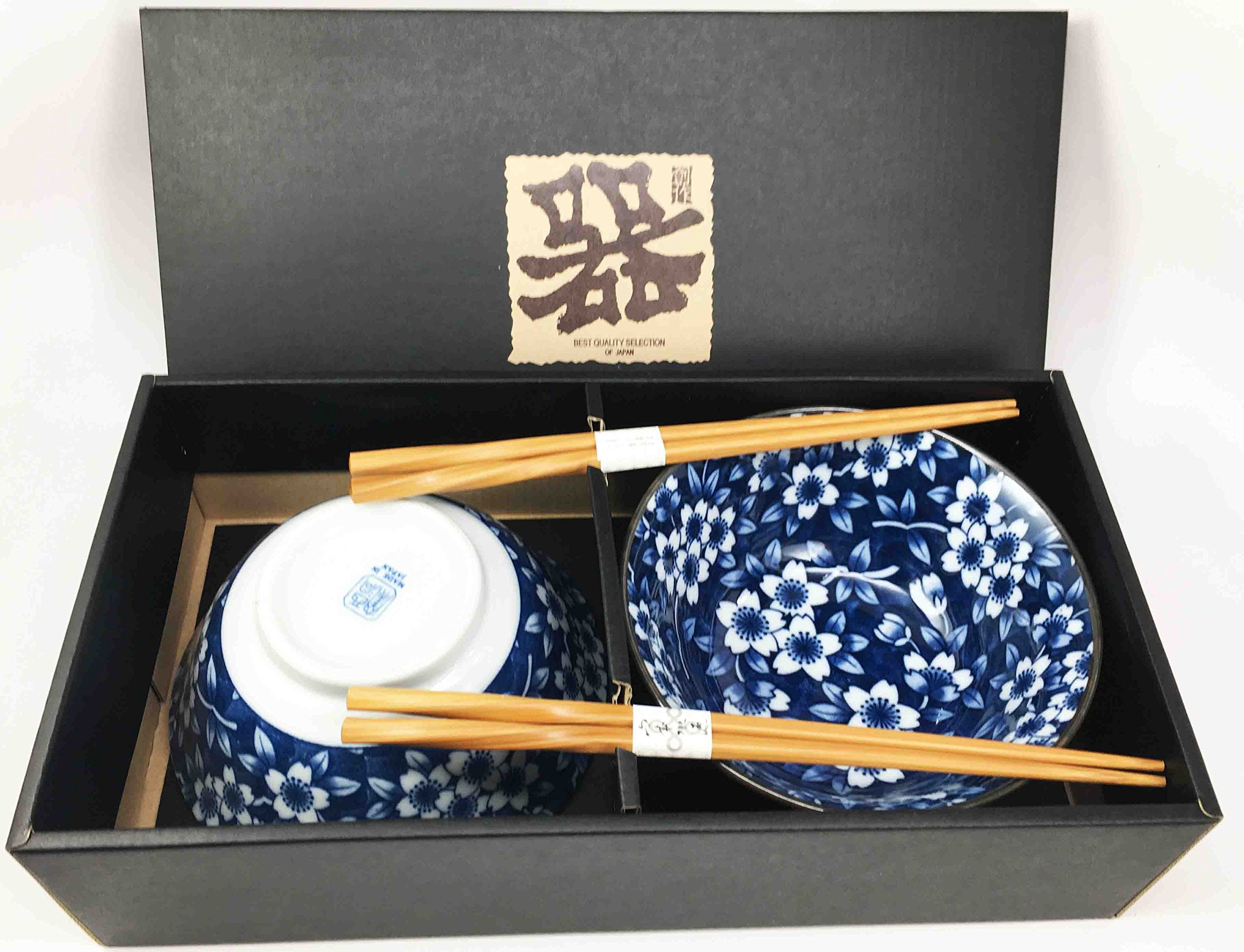 Japanese Floral Pattern Blue Ceramic Rice or Meal Bowl and Chopsticks Set Serves Two Great Gift For College Students Housewarming Asian Living Home Decor by Gifts & Decors (Image #2)