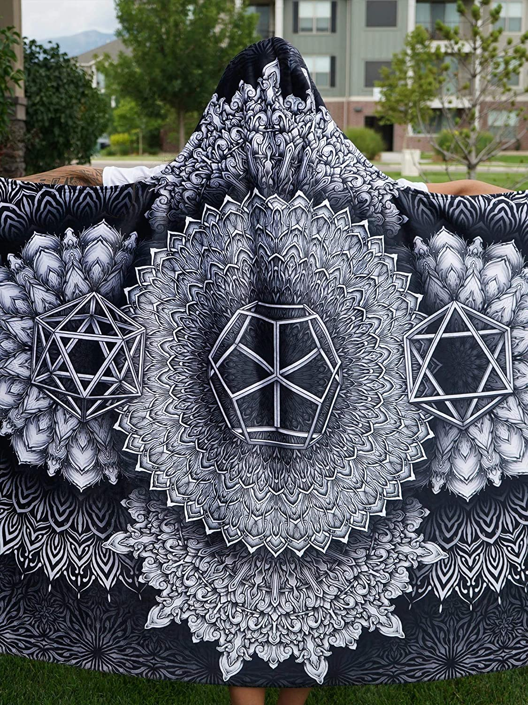 Platonic Mandala Black Hooded Blanket