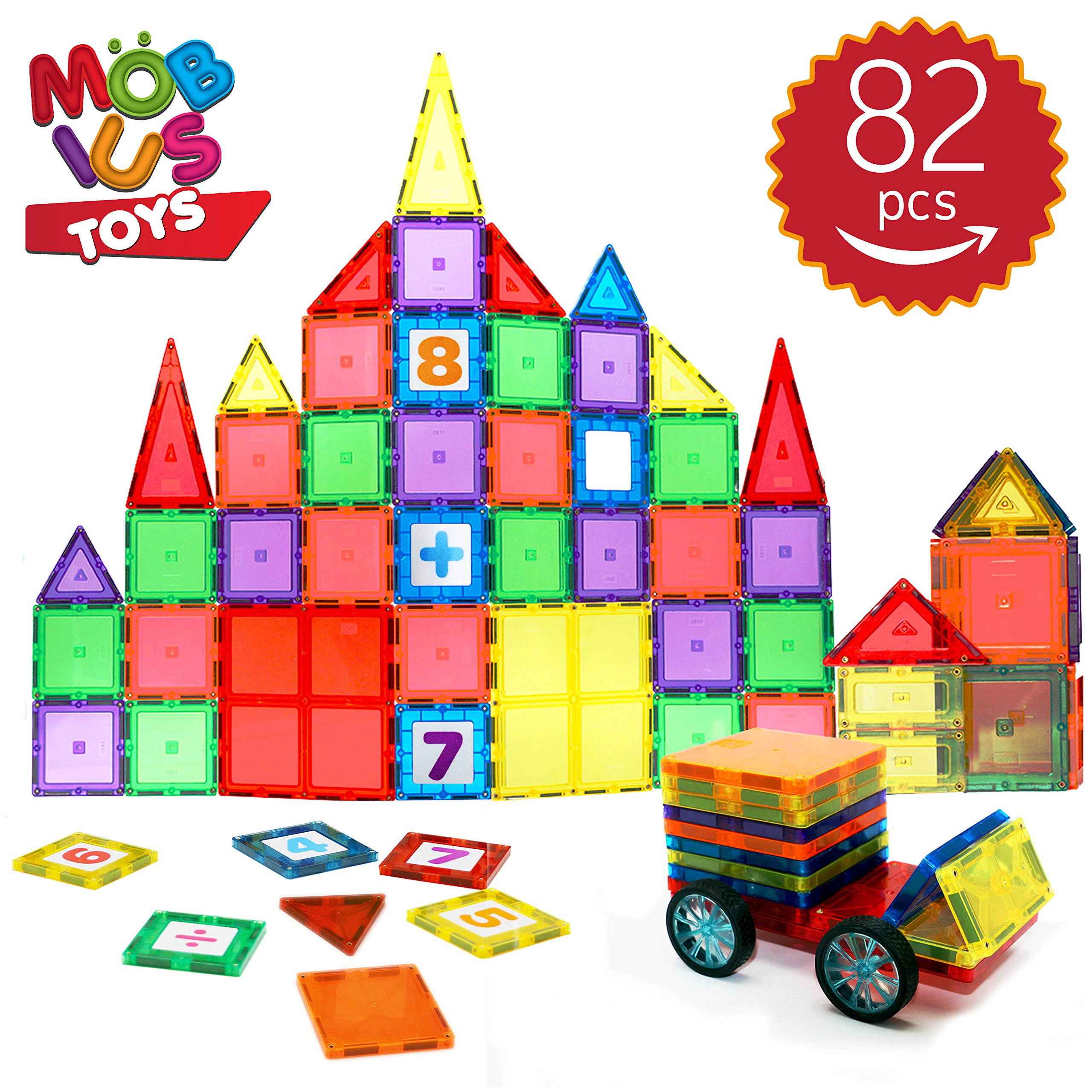 Magnetic Blocks 82 Piece Set - Magnetic Tiles Kids Strong Metallic Rivets - 3D Various Magnetic Shapes That Build - Magnet Car-Wheels & Click-in Numbers Bonus, Plus Storage Bag