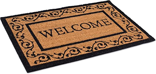 BIRDROCK HOME Welcome Coir Doormat with Scroll Border – 24 x 36 Inch – Oversized Welcome Mat with Black Border and Natural Fade – Vinyl Backed – Outdoor