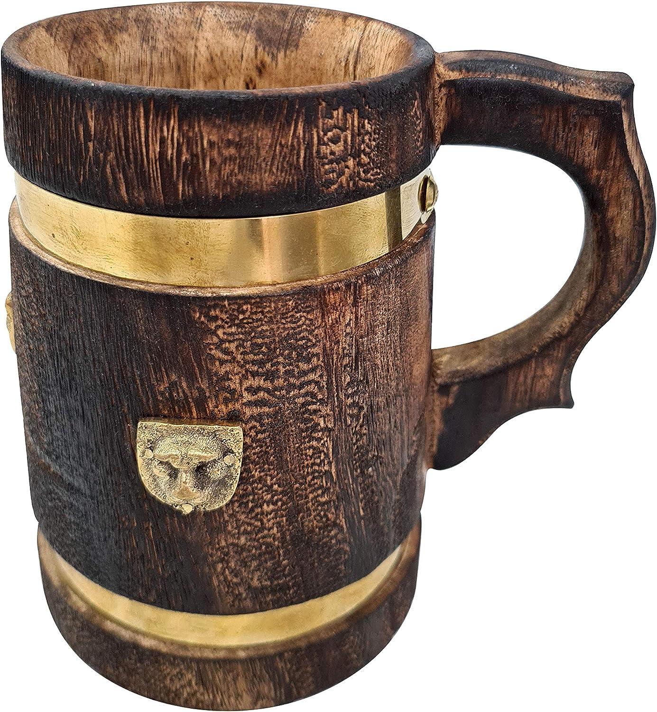 Vintage Style Medieval Inspired Wooden Beer Mug/Stein Brass Barrel Design With Embossed Metal Lion Wood Tankard