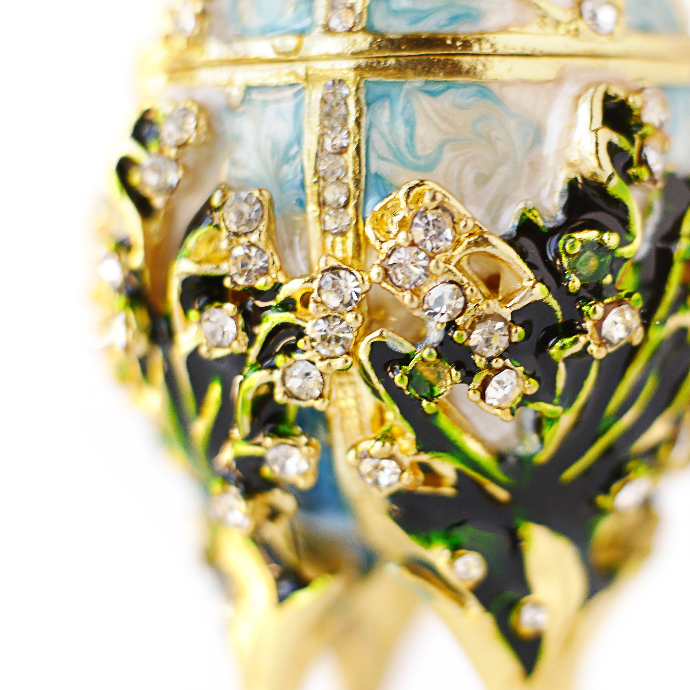 Apropos Hand-Painted Vintage Style Faberge Egg with Rich Enamel and Sparkling Rhinestones Jewelry Trinket Box (S. White Cross) by Apropos (Image #4)