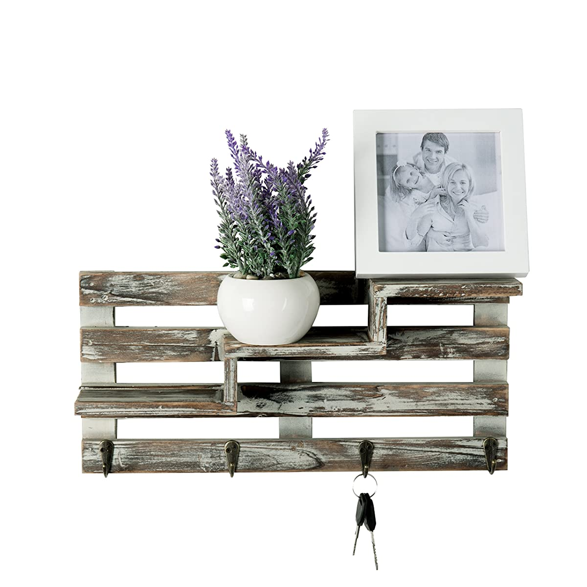 MyGift Rustic Torched Wood Wall Mounted Entryway Organizer Display Shelf Rack with 4 Key Hooks