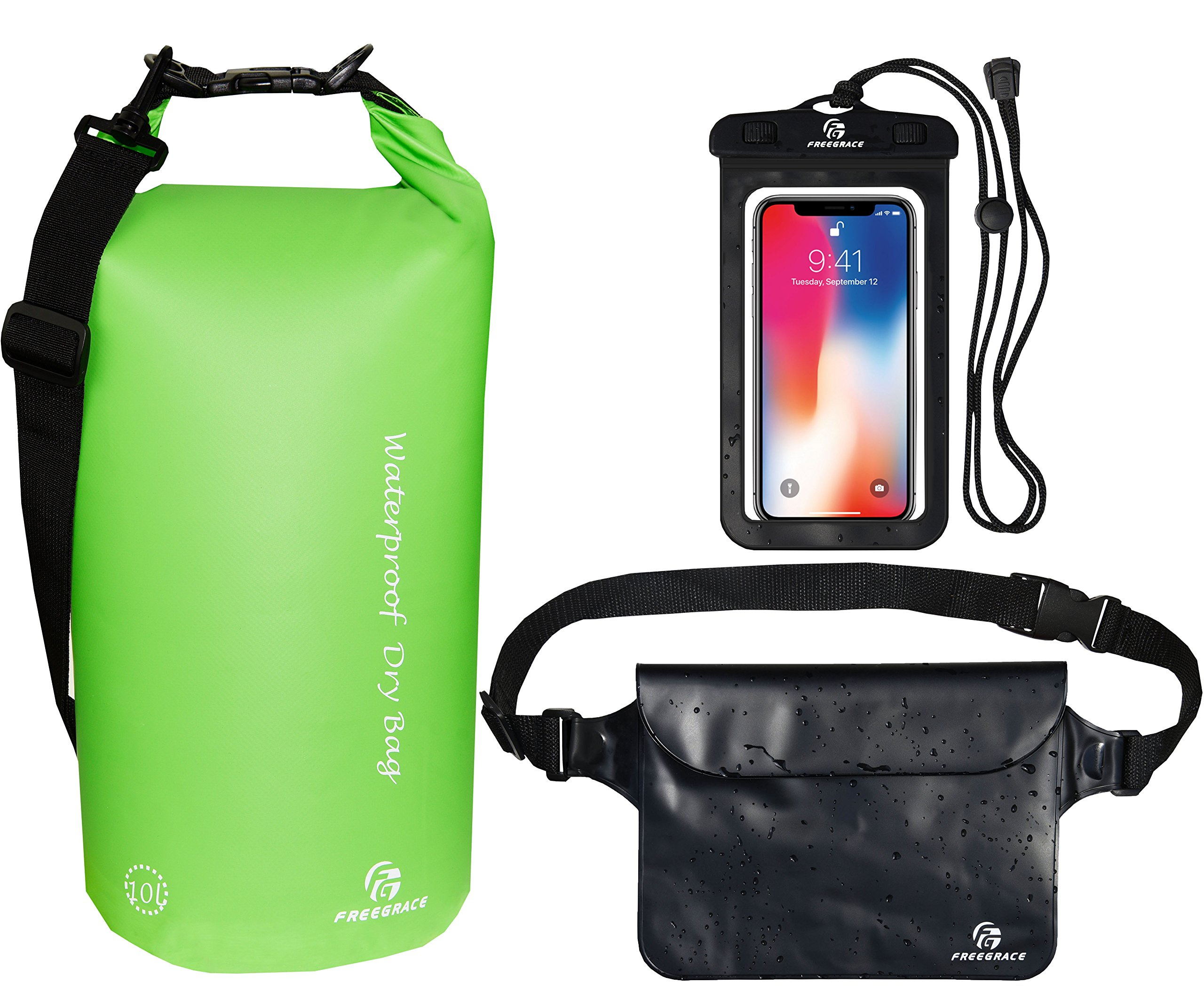 Freegrace Waterproof Dry Bags Set of 3 Dry Bag with 2 Zip Lock Seals & Detachable Shoulder Strap, Waist Pouch & Phone Case - Can Be Submerged Into Water (Green, 20L)