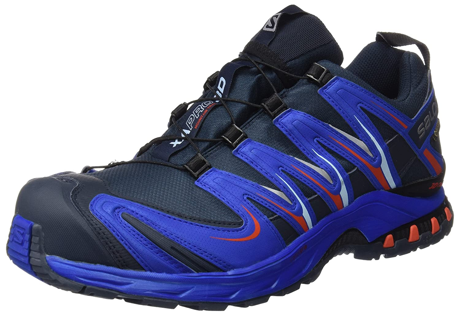 Salomon L39072000, Zapatillas de Trail Running para Hombre 42 EU|Azul (Deep Blue / Blue Yonder / Lava Orange)