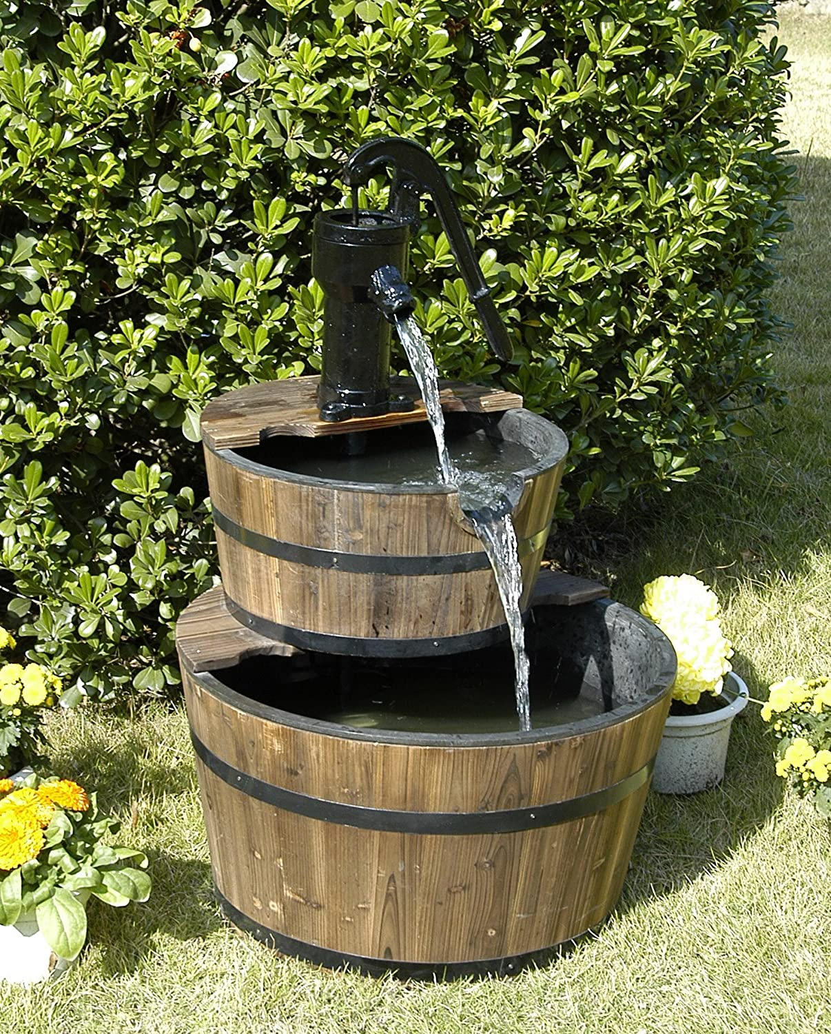 Wood barrel with pump outdoor water fountain large garden for Garden water pump