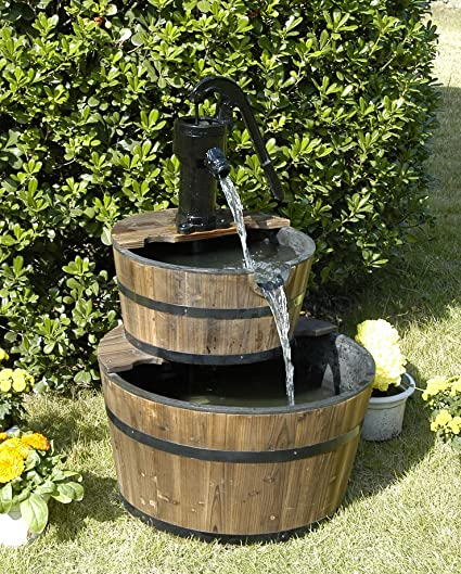 Wood Barrel With Pump Outdoor Water Fountain   Large Garden Water Fountain  Product SKU: PL50001