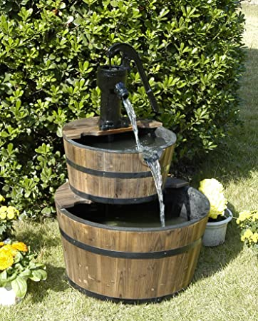 Amazoncom Wood Barrel with Pump Outdoor Water Fountain Large