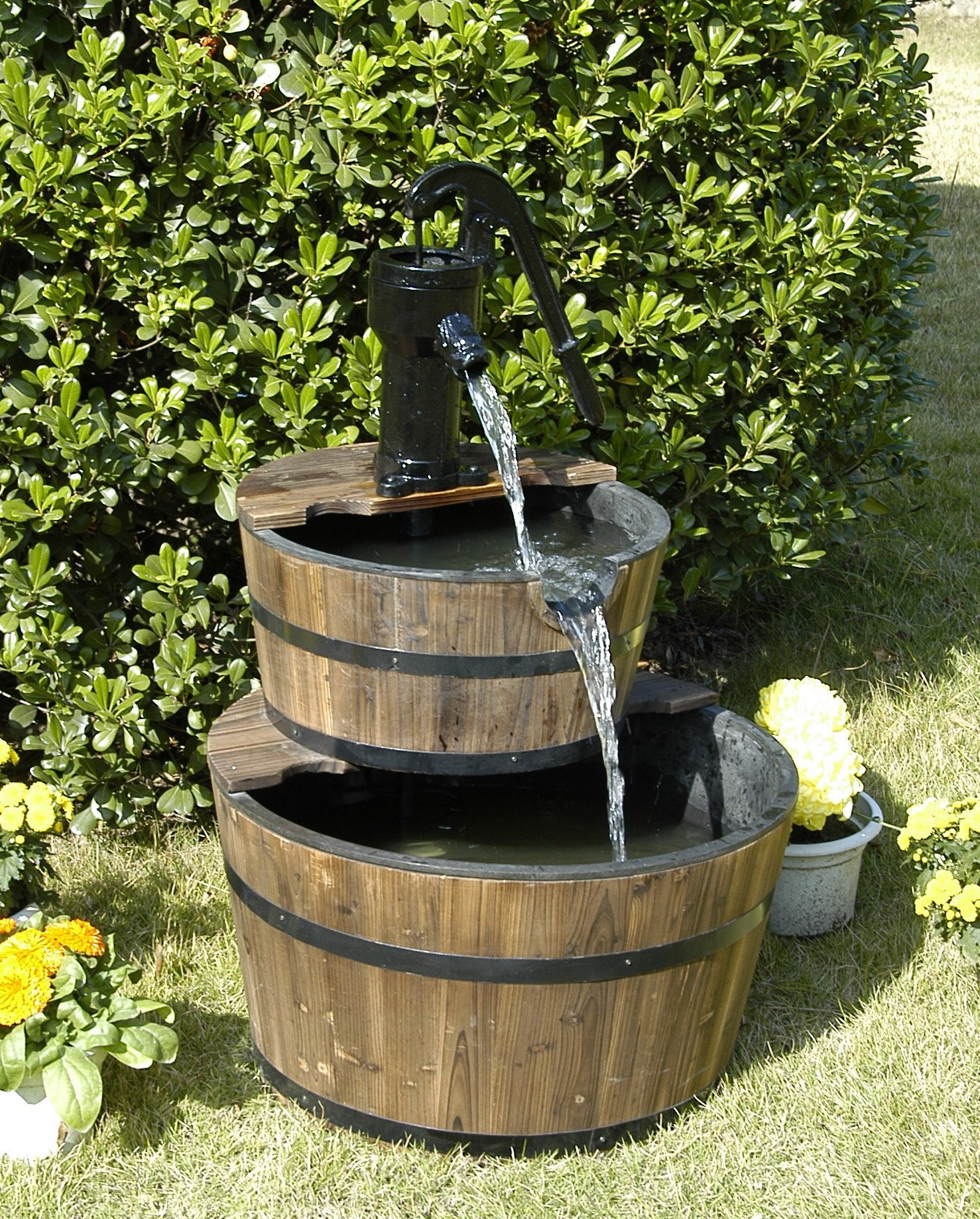 Wood Barrel with Pump Outdoor Water Fountain - Large Garden Water Fountain Product SKU: PL50001 by PSW - Water Fountains