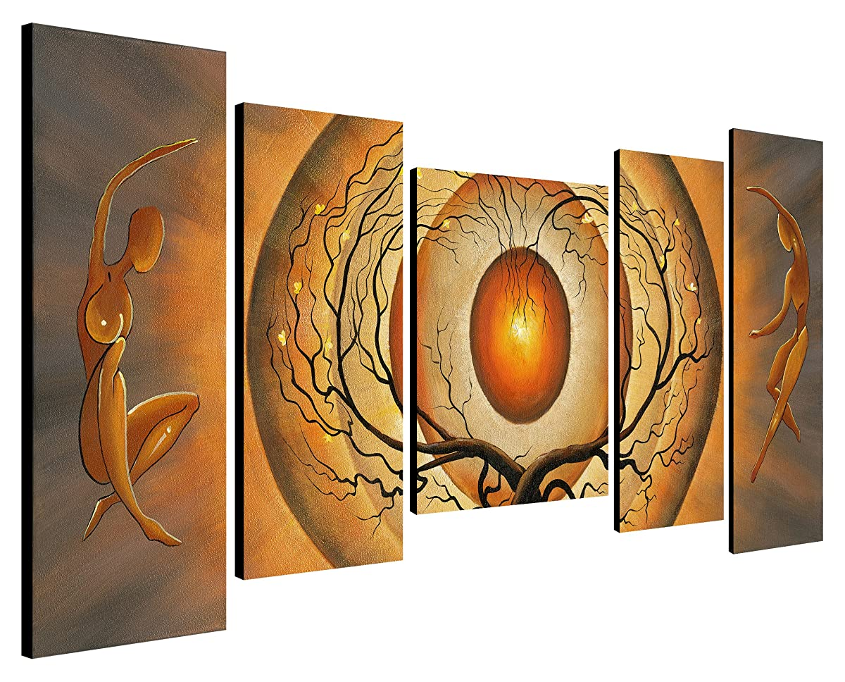 Wieco Art Orange Trees Dancing Couple 5 Piece Giclee Canvas Prints Wall Art Abstract Pictures Paintings for Living Room Bedroom Home Decorations Modern Stretched and Framed Conptemprary Artwork