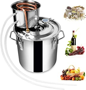 Rovisa Moonshine Still 3 Gallon 12L Water Alcohol Distiller Spirits Kit Copper Tube Home Brewing Wine Making Kit Build-in Thermometer for DIY Whisky Wine Brandy, Stainless Steel 2 Pot