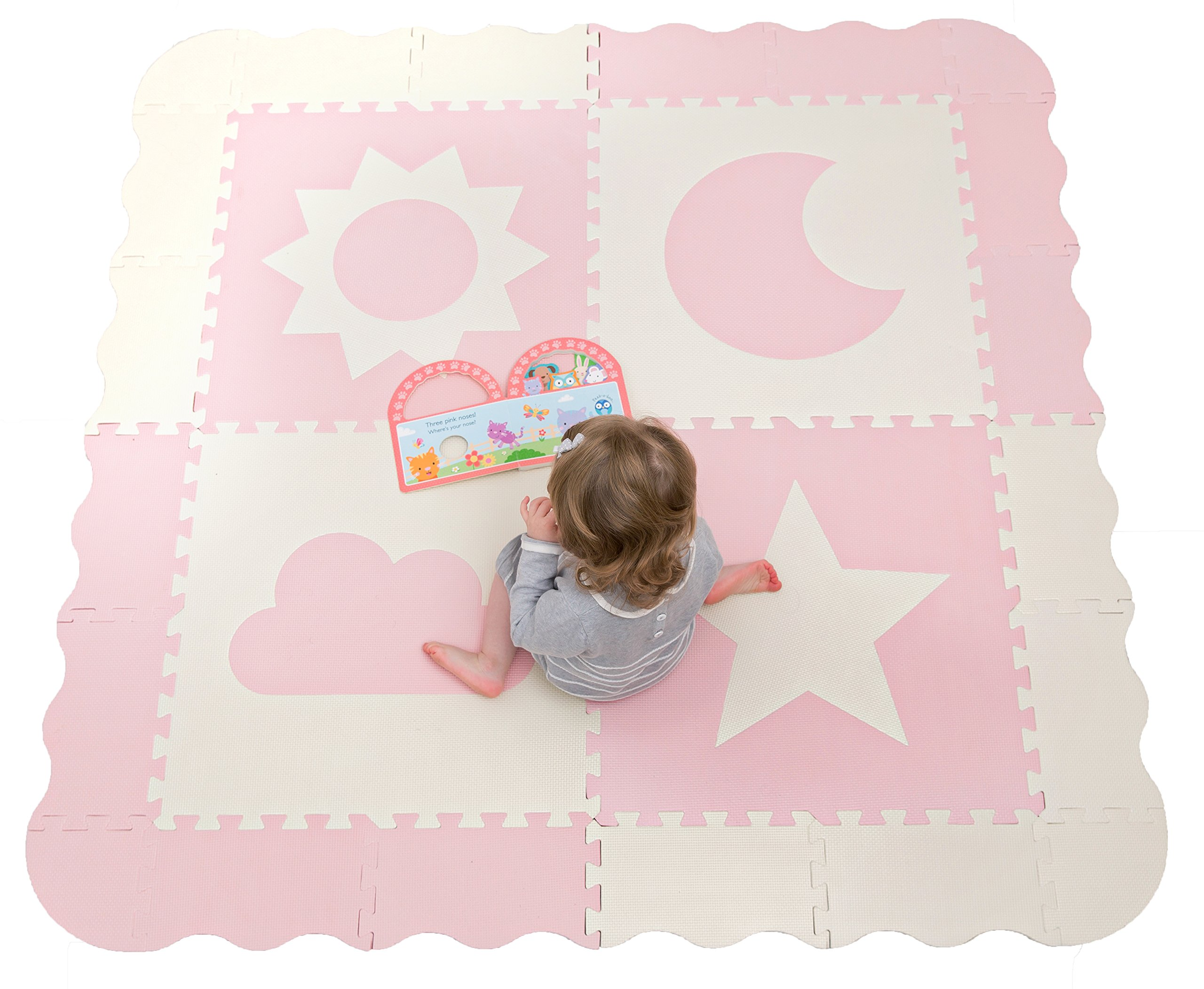 "Interlocking Foam Baby Play Mat Tiles - Non-Toxic, Extra Large Thick Floor Squares, 61"" x 61"" Pink & White Playroom & Nursery Mat, Safe & Protective For Infants, Toddlers, Kids"