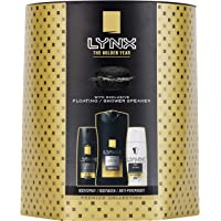 Lynx  Gold Trio Men's Gift Set with Shower Speaker, Body Wash, Body Spray and Anti-Perspirant - Gift Set for Him
