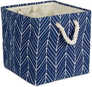 "DII Collapsible Polyester Storage Basket or Bin with Durable Cotton Handles, Home Organizer Solution for Office, Bedroom, Closet, Toys, & Laundry (11x11x11"") - Nautical Blue Herringbone"