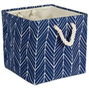 DII Collapsible Polyester Storage Basket or Bin with Durable Cotton Handles, Home Organizer Solution for Office, Bedroom, Closet, Toys, & Laundry (13x13x13 ) - Nautical Blue Herringbone
