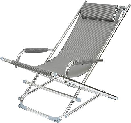 La et chair appui coussin toile textilène Gris 1J 37 Chaise pliable tête 003 de Longue longue Aluminium chiné accoudoirs et Rocking Chaise avec jardin vN0O8Pmwyn