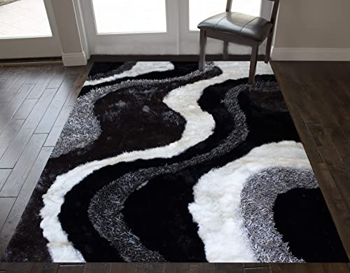 White Cream Black Two Tone Colors 8 x10 Feet 3D Carved Shag Shaggy Furry Fuzzy Indoor Bedroom Living Room Office Space Area Rug Carpet Rug Modern Contemporary Decorative Designer Hand Woven