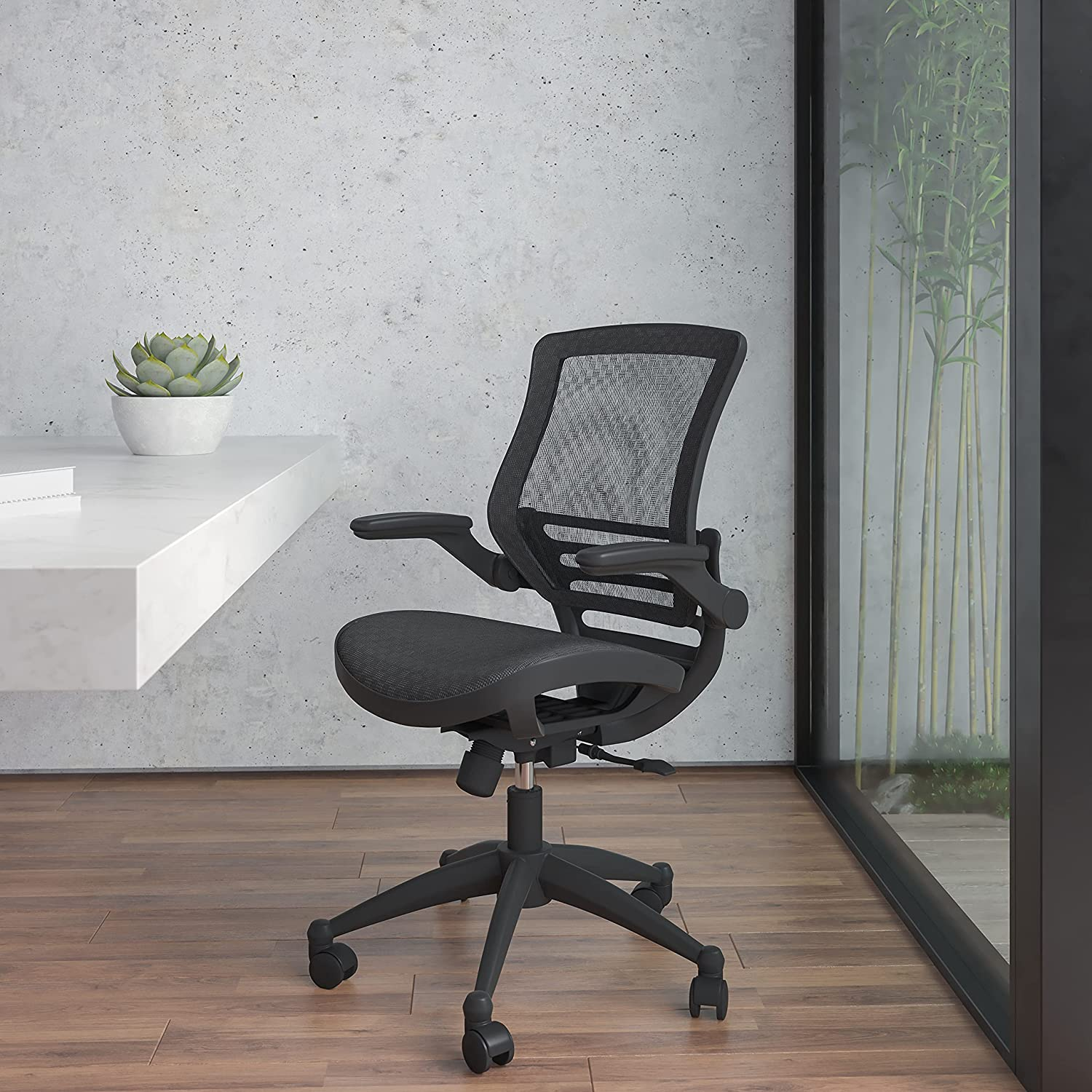 Flash Furniture Mid-Back Transparent Black Mesh Executive Swivel Office Chair with Black Frame and Flip-Up Arms