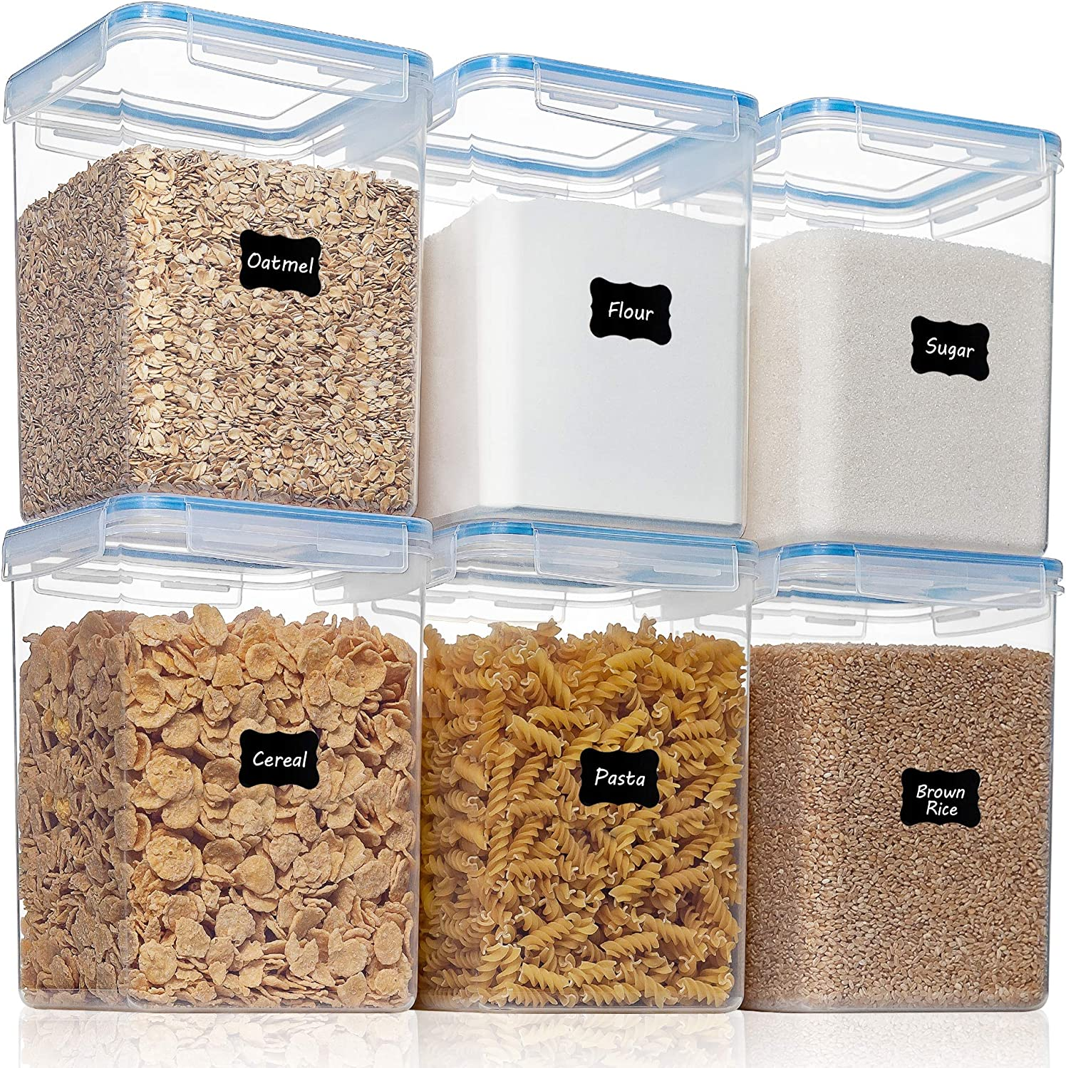 Large Airtight Food Storage Containers with Lids -HOOJO 6 Pcs (176oz/5.2L) Flour and Sugar Containers,BPA Free Plastic, Kitchen Pantry Organizers with Measuring Cups and Removable Labels,Blue