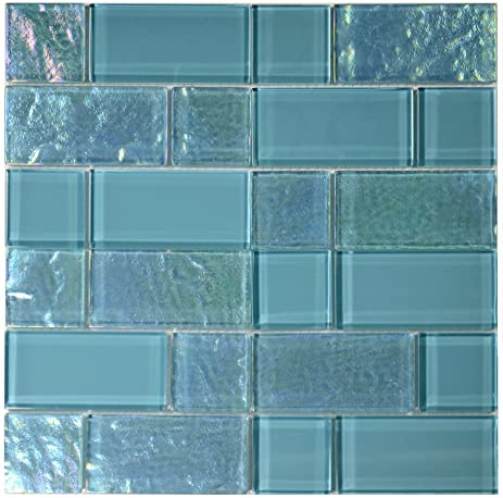 Turquoise And Iridescent Glass Tile Blend Mix Amazon