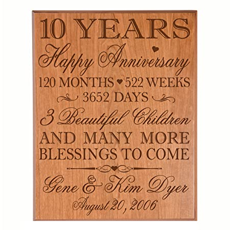 Personalized 10 Year Wedding Anniversary Gifts For Couple 10th