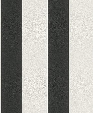Vliestapete weiß schwarz  Vliestapete Streifen Gestreift weiß schwarz Tapete Rasch Prego ...