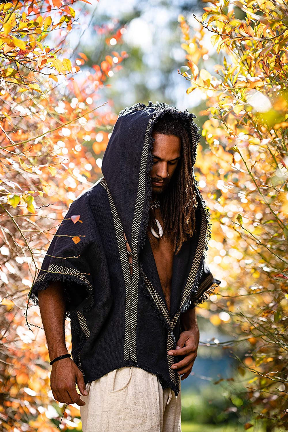 AJJAYA Handmade Mens Cashmere Wool Black Hooded Poncho with Two Pockets and Ethnic Embroidery Mexican Primitive