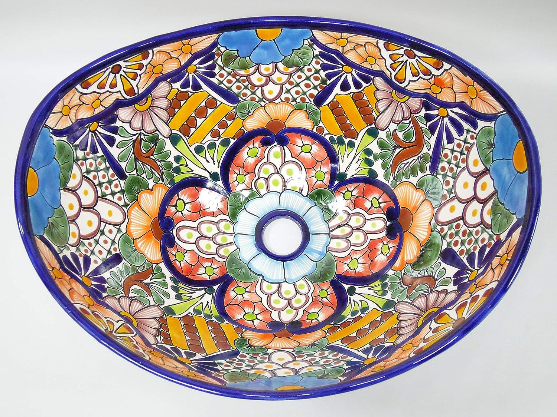 18 TALAVERA SINK oval vessel mexican bathroom handmade ceramic folk art