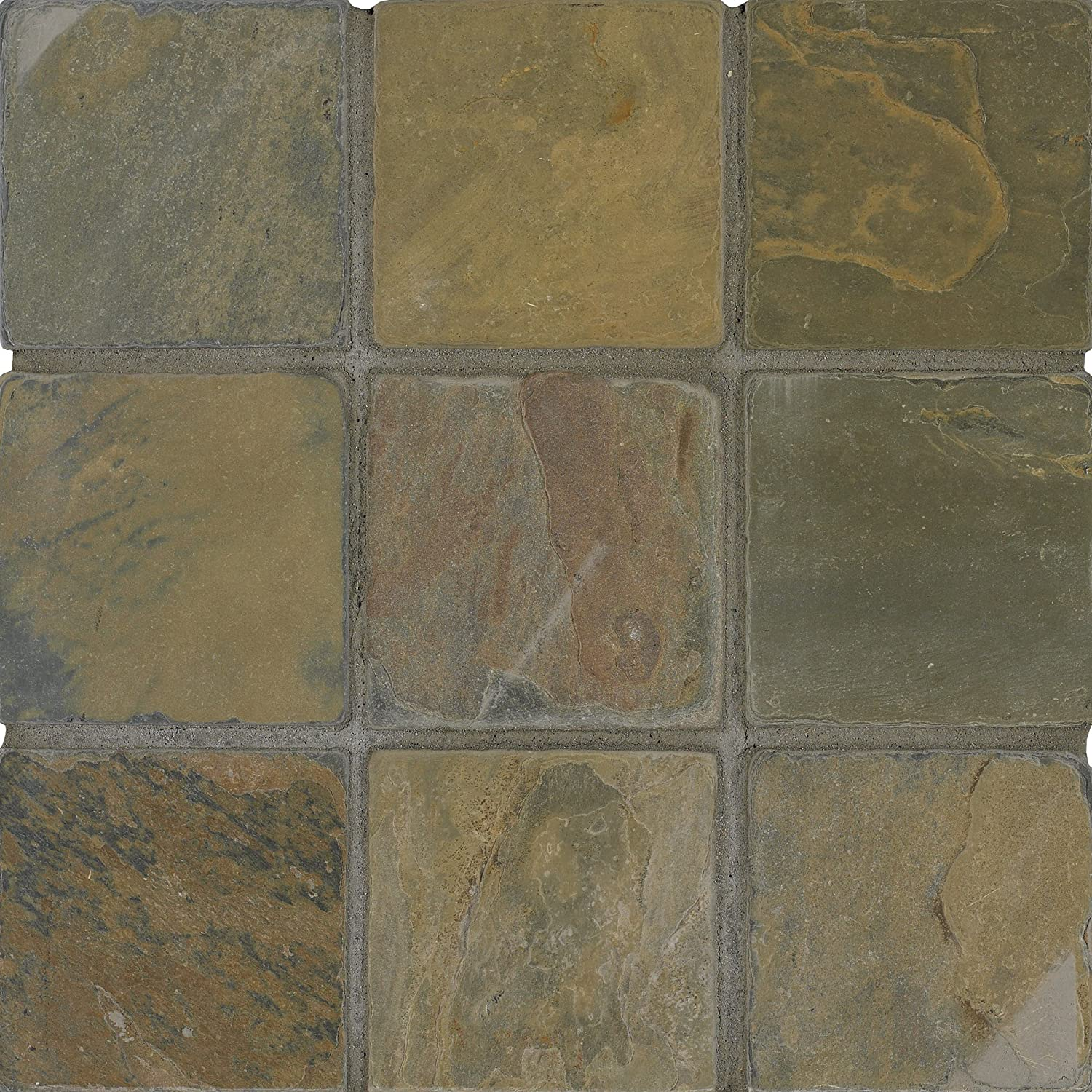Arizona tile 4 by 4 inch tumbled slate tile rustic gold 6 total arizona tile 4 by 4 inch tumbled slate tile rustic gold 6 total square feet stone tiles amazon dailygadgetfo Image collections
