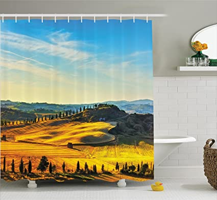 Ambesonne Italian Shower Curtain Scenery Of Rural With Trees Meadows And Sky Mediterranean Farm