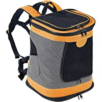 Dogs Backpack Carrier Foldable Waterproof Pet Rucksack Puppy Cat Soft Sided Travel Bag Padded Top Open Breathable Mesh Waist Strap (One Size, Orange)