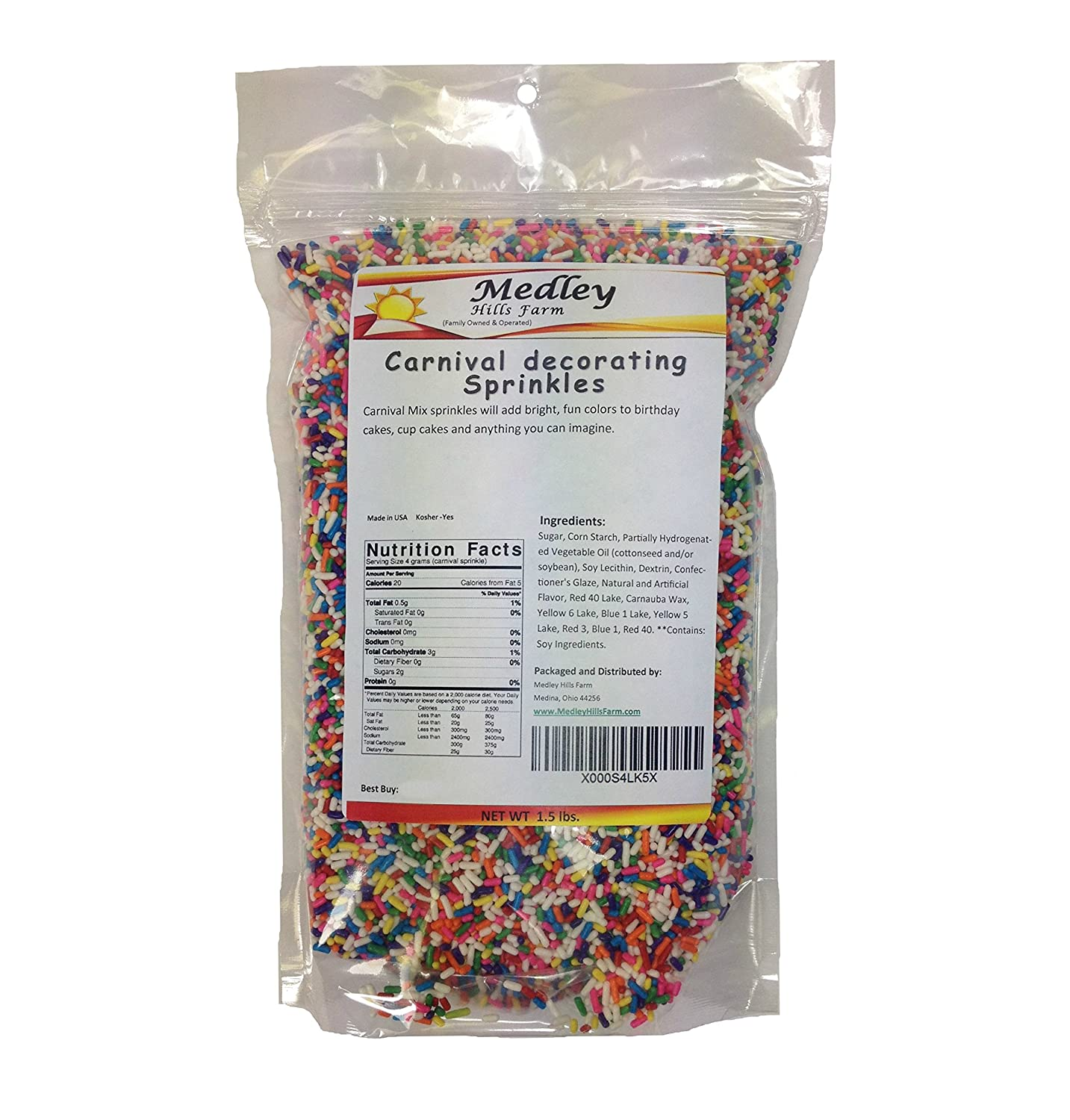 Carnival decorating Sprinkles Mix 1 5 lbs , by Medley Hills Farm