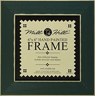 mill hill wooden frame 6 by 6 inch matte green
