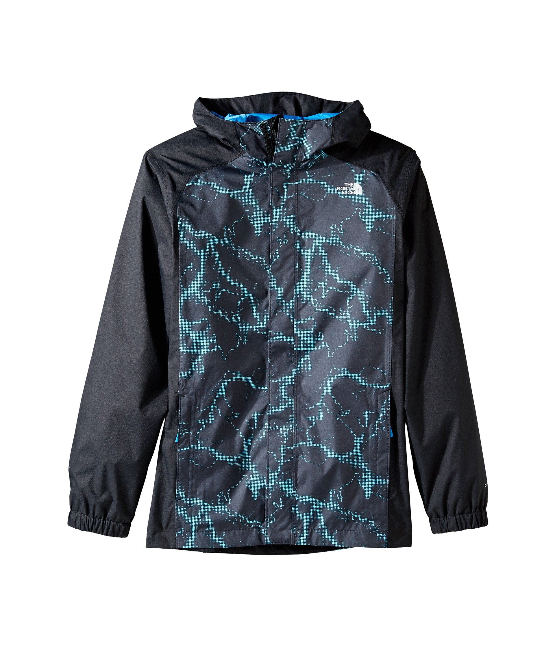 The North Face Boys' Resolve Reflective Jacket Cascade Blue Lightning Print S by The North Face