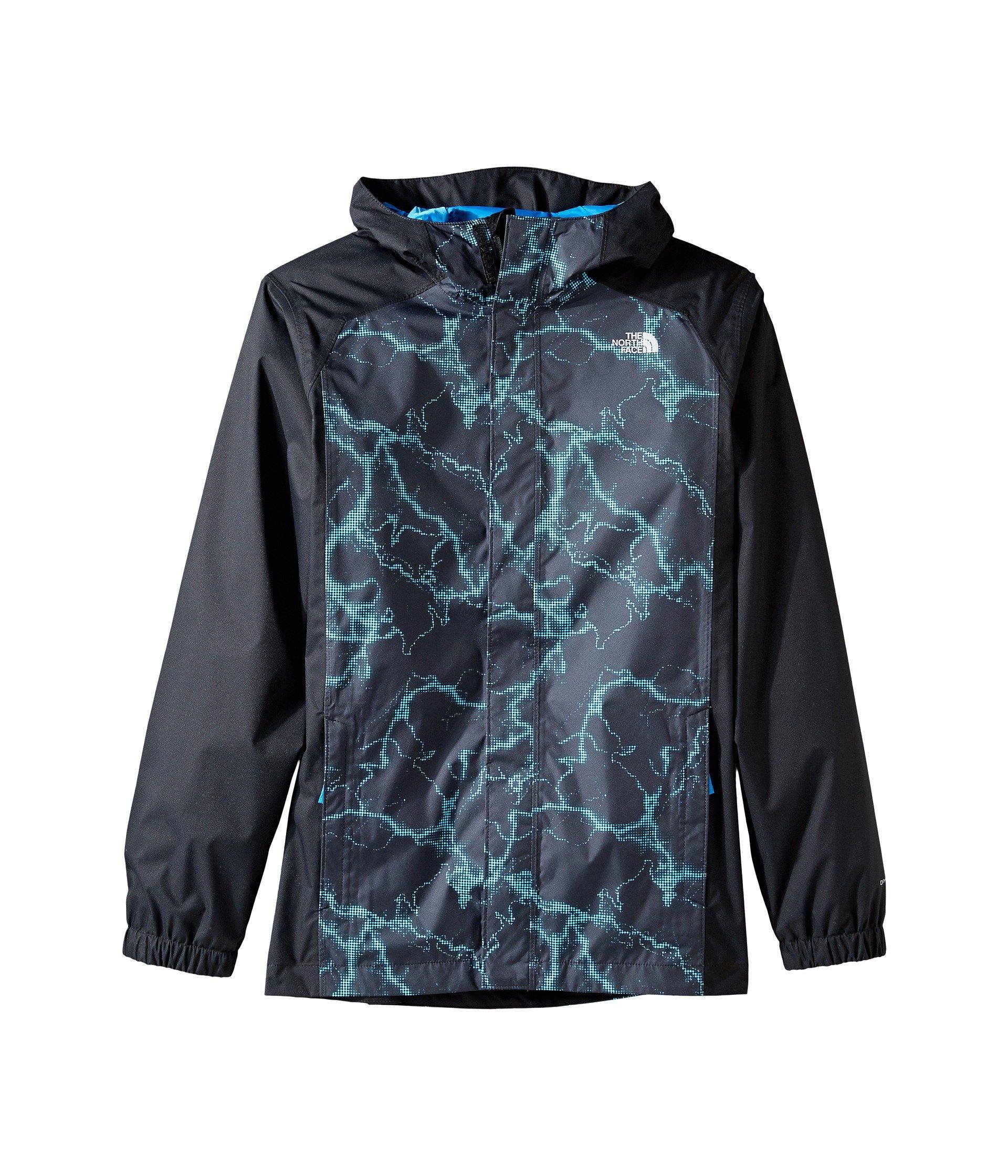 The North Face Boys' Resolve Reflective Jacket Cascade Blue Lightning Print M
