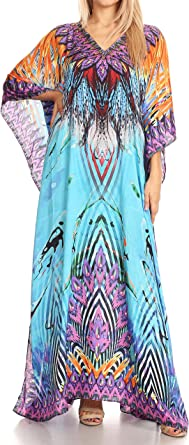 Sakkas P39 - Anahi Flowy Design V Neck Long Caftan Dress/Cover Up with Rhinestone - 17173-Black/White/Turq - OS