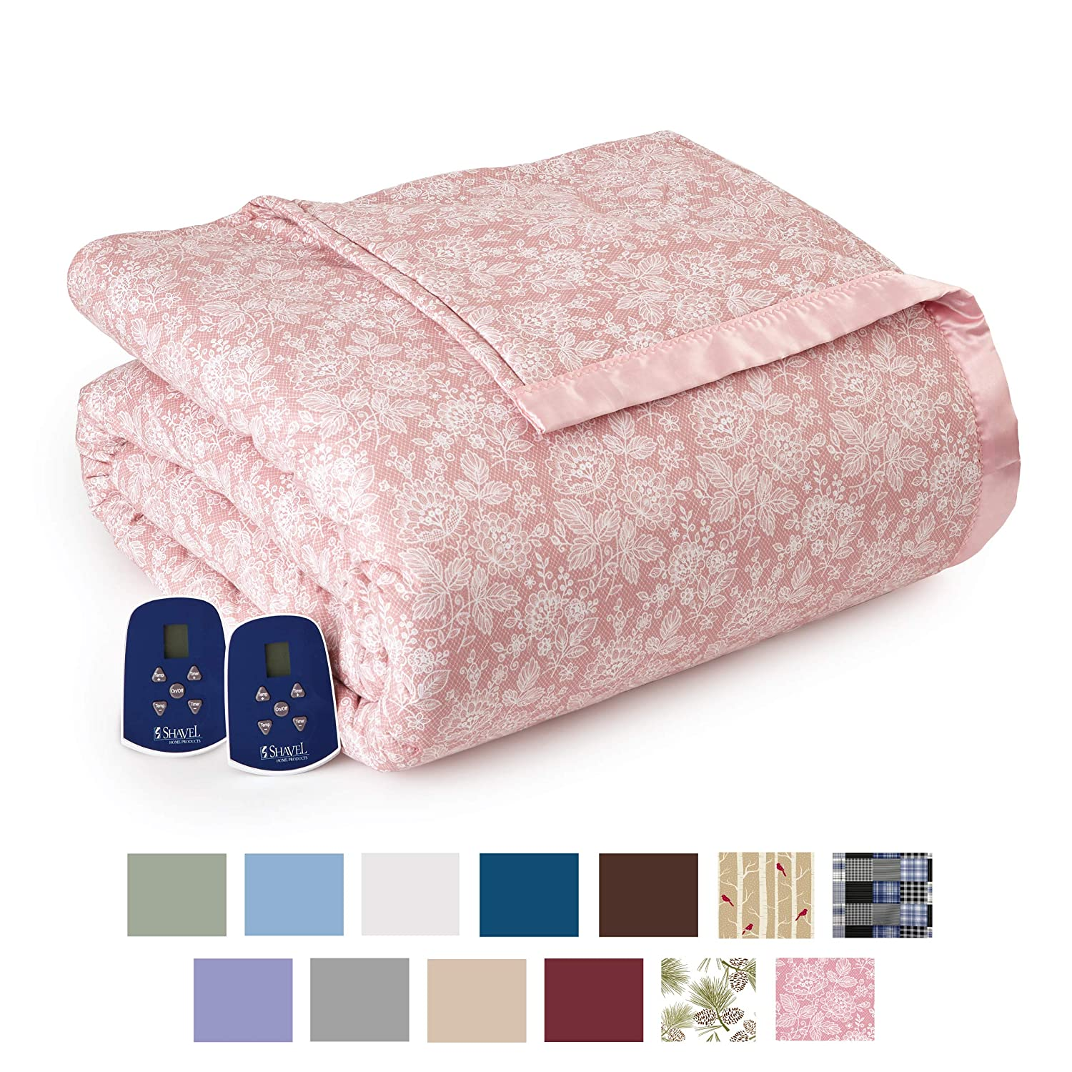 Thermee Micro Flannel Electric Blanket, Romance-Rose, King