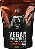 nu3 Vegan Protein 3K Shake | 1 Kg Chocolate Blend | veganes Proteinpulver aus 3-Komponenten-Protein mit 70% Eiweiß | Pulver mit leckererm Schokoladen-Geschmack | Laktosefrei