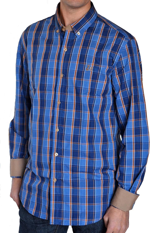 Ridebike Camisa de Cuadros Vespa | Custom fit | Tono Azul y Camel (XXL): Amazon.es: Ropa y accesorios