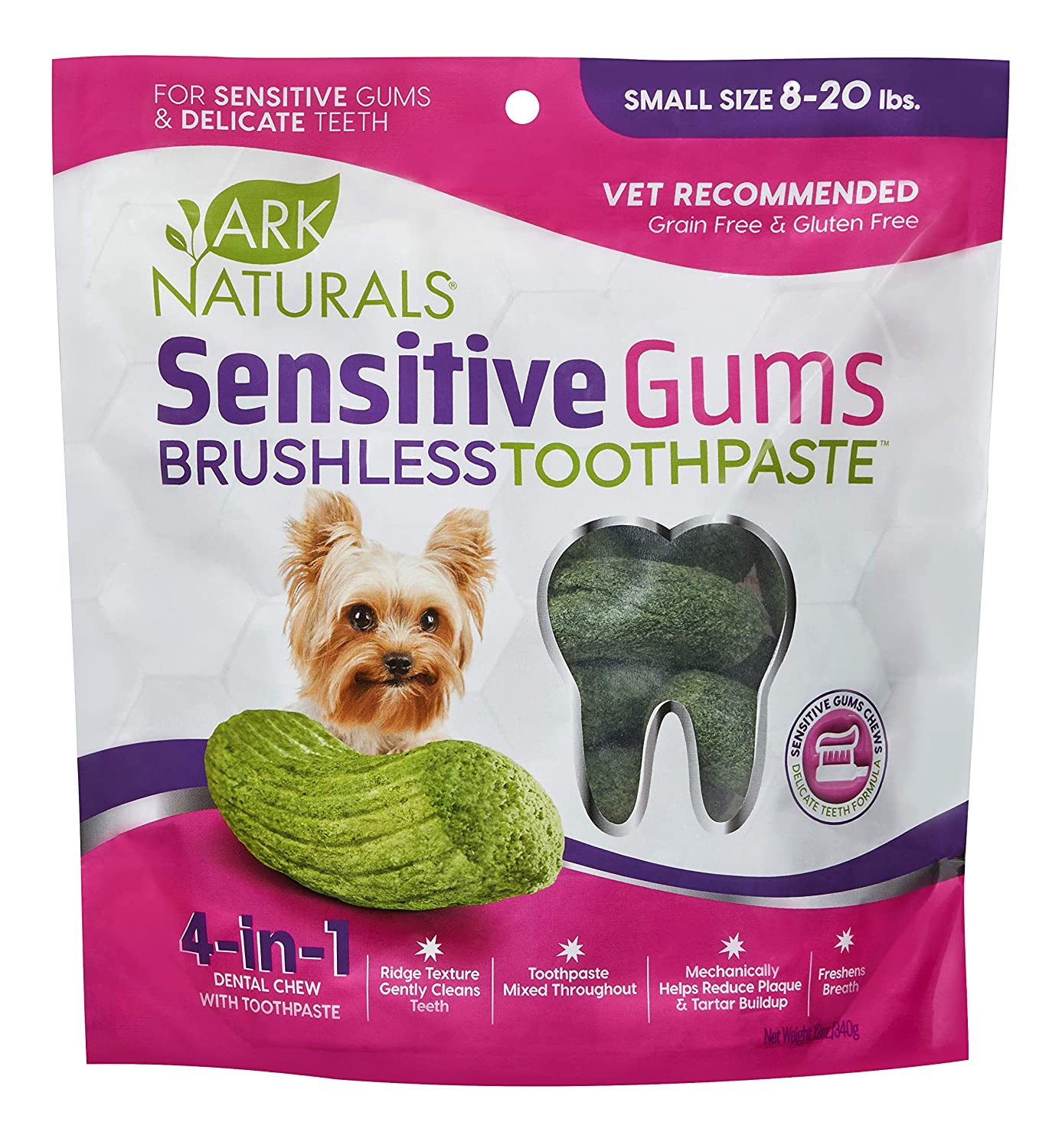ARK NATURALS Brushless Toothpaste for Sensitive Gums Vet Recommended for Plaque 1 Pack Dog Dental Chews for Small Breeds Bacteria /& Tartar Control
