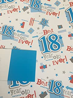 Mens 18 Happy 18th Birthday Gift Wrapping Paper 2 Sheets 1 Tag