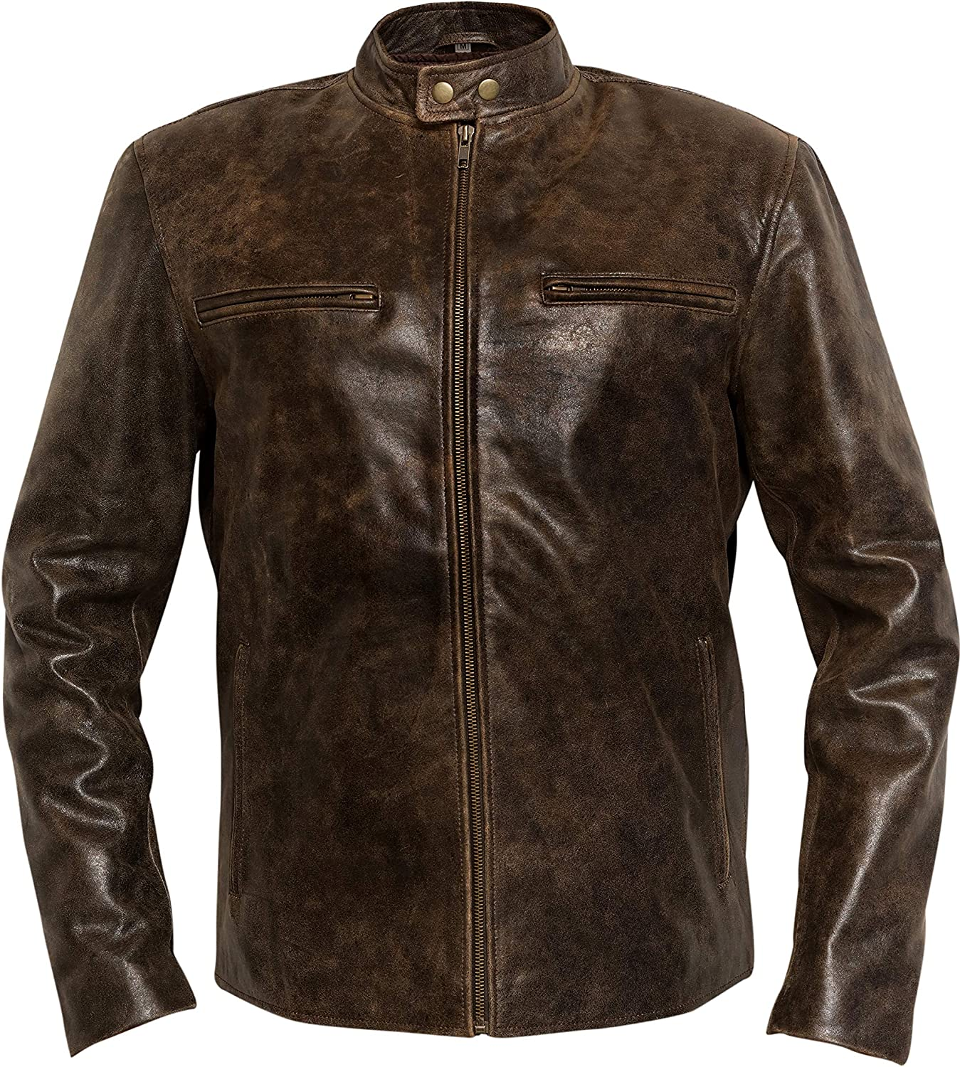 Daddy's Home Mark Wahlberg Distressed Brown Cowhide Leather Jacket