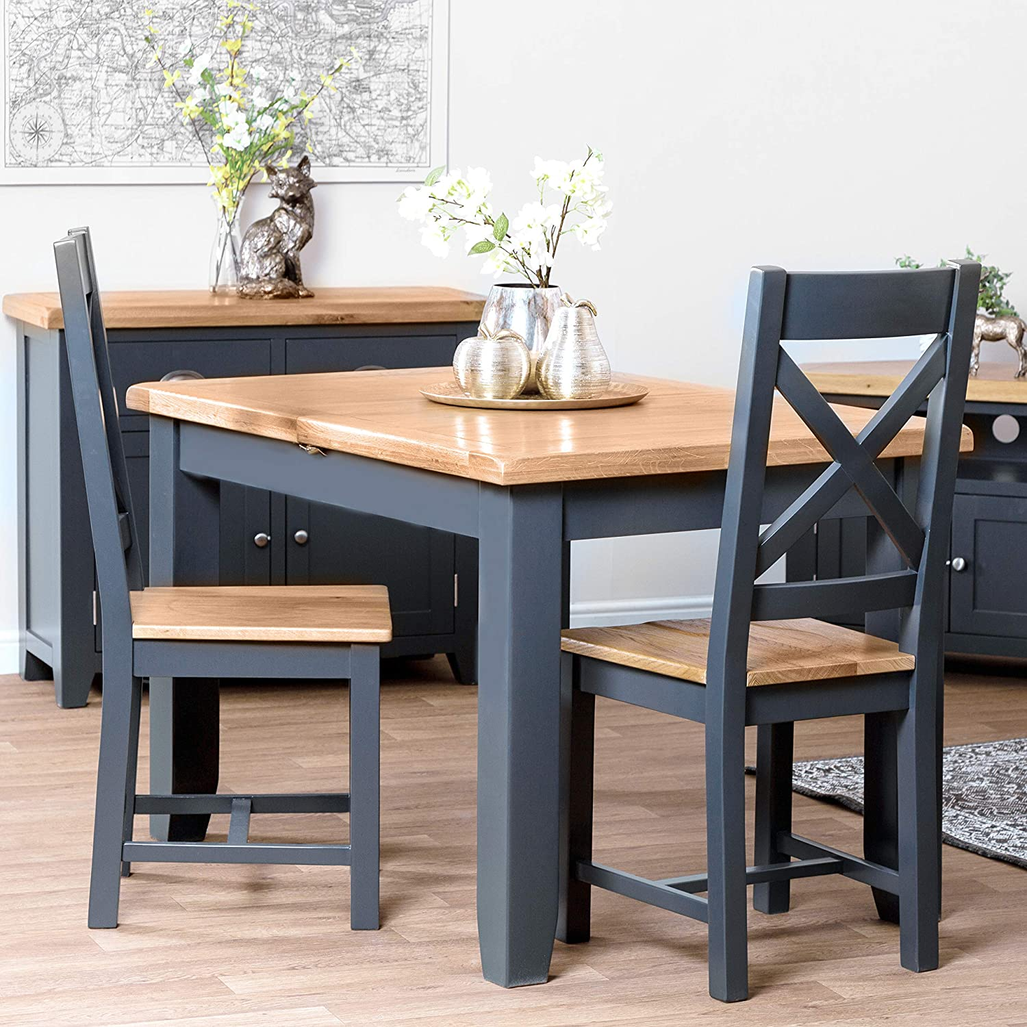 The Furniture Outlet Hampshire Blue Painted Oak Small Extending Dining Table Seats 6 Table Only Amazon Co Uk Kitchen Home