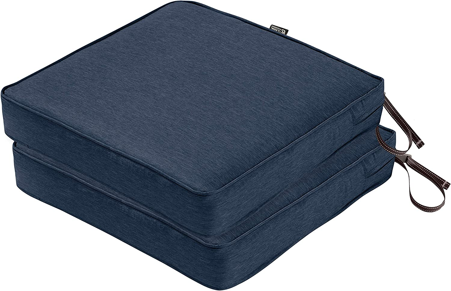 Classic Accessories Montlake FadeSafe Patio Seat Cushion, 2-Pack, Heather Indigo, 19 W x 19 D x 3 Thick