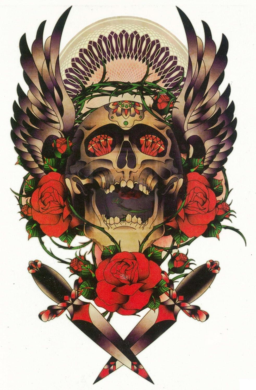 Amazon Com Srin Temporary Tattoo Exotic Body Art With Skull Cross Rose Carp Lotus Pack Of 3 Sheets Gps Navigation