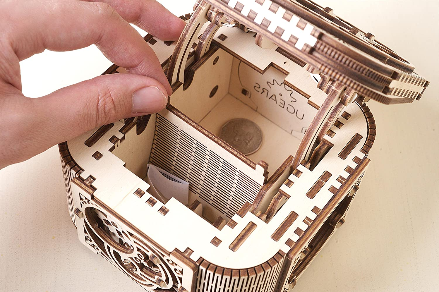 3d Puzzle For Adults New Model UGEARS Treasure Box Wooden 3D Mechanical Puzzle Brain Teaser Self Assemble Engineering Toys